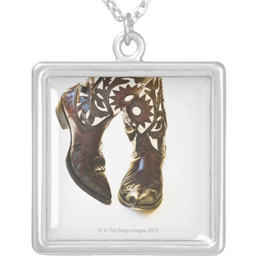 Pair of cowboy shoes 2 silver plated necklace