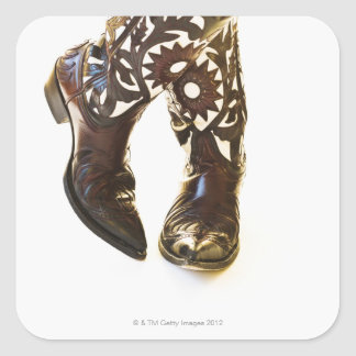Pair of cowboy shoes 2 square sticker