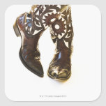 Pair of cowboy shoes 2 square stickers