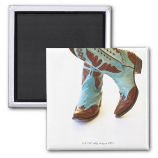 Pair of cowboy shoes 3 2 inch square magnet