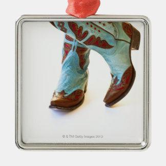 Pair of cowboy shoes 3 square metal christmas ornament