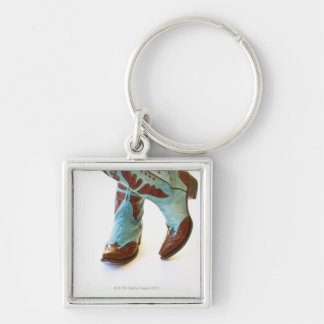 Pair of cowboy shoes 3 Silver-Colored square keychain