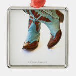 Pair of cowboy shoes 3 square metal christmas ornament