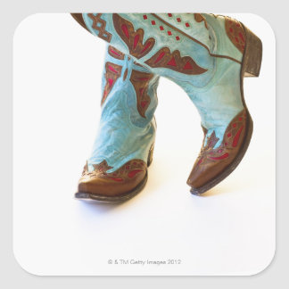 Pair of cowboy shoes 3 square sticker