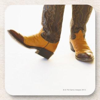 Pair of cowboy shoes beverage coasters