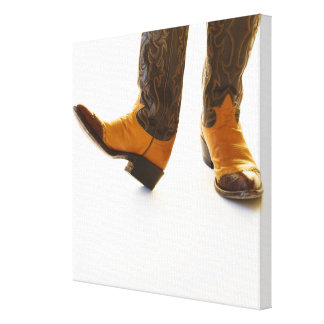 Pair of cowboy shoes stretched canvas prints