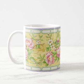 Pair of Cranes Floral Mug