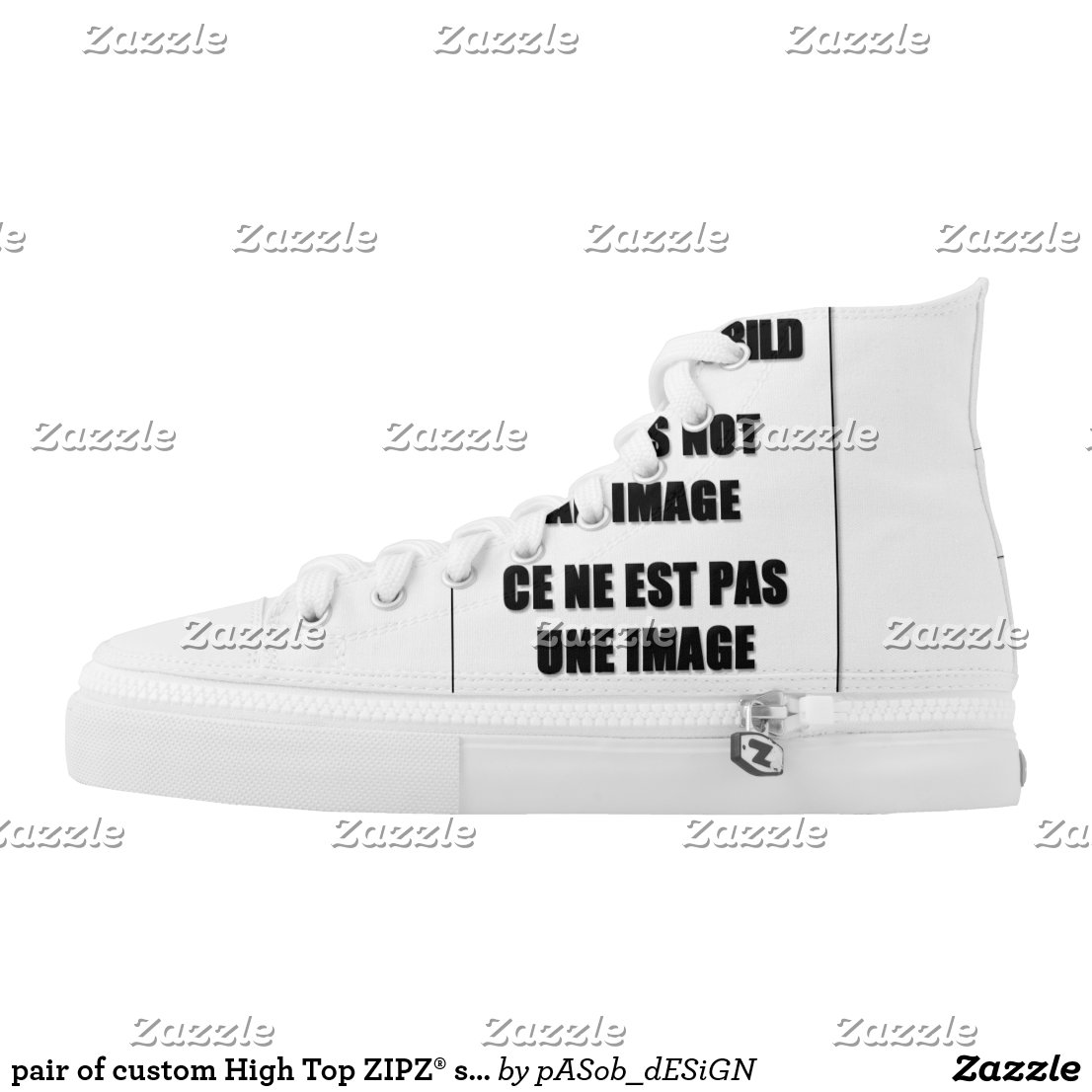 pair of custom High Top ZIPZ® shoes