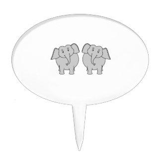 Pair of Cute Elephants. Cake Topper