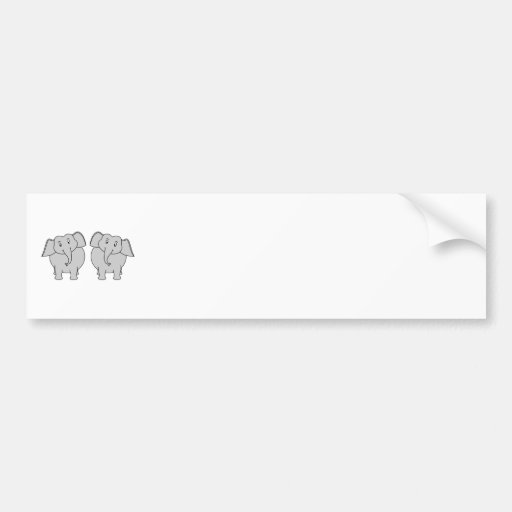 Pair of Cute Elephants. Couple. Bumper Stickers