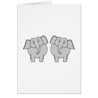 Pair of Cute Elephants. Couple. Card