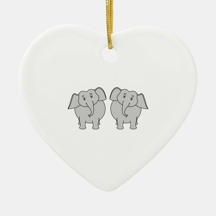 Pair of Cute Elephants. Couple. Ceramic Ornament