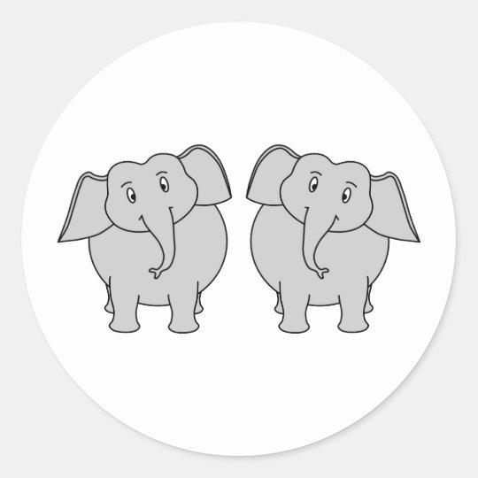 Pair of Cute Elephants. Couple. Classic Round Sticker