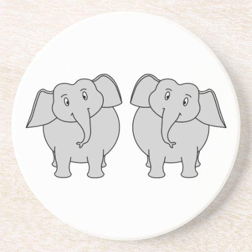Pair of Cute Elephants. Couple. Drink Coasters