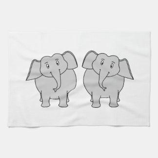 Pair of Cute Elephants. Couple. Kitchen Towels