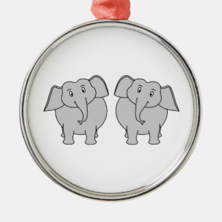Pair of Cute Elephants. Couple. Metal Ornament
