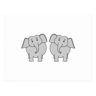 Pair of Cute Elephants. Couple. Postcard