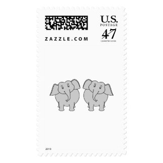 Pair of Cute Elephants. Couple. Stamp