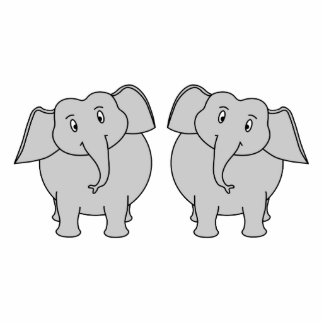 Pair of Cute Elephants. Couple. Standing Photo Sculpture