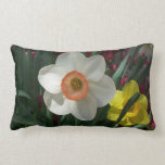Pair of Daffodils Pink and Yellow Spring Flowers Lumbar Pillow