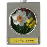 Pair of Daffodils Pink and Yellow Spring Flowers Silver Plated Banner Ornament