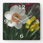 Pair of Daffodils Pink and Yellow Spring Flowers Square Wall Clock