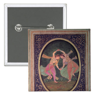 Pair of dancing girls performing a Kathak Pinback Buttons