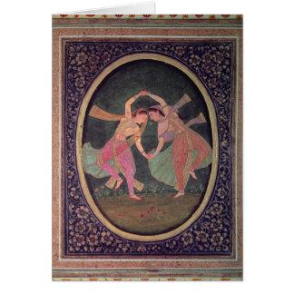 Pair of dancing girls performing a Kathak Card