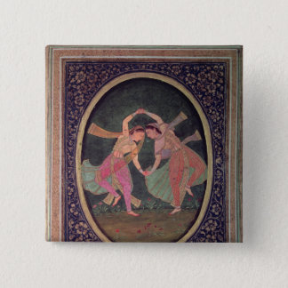 Pair of dancing girls performing a Kathak Pinback Button