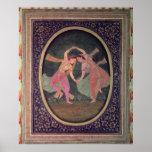 Pair of dancing girls performing a Kathak Poster