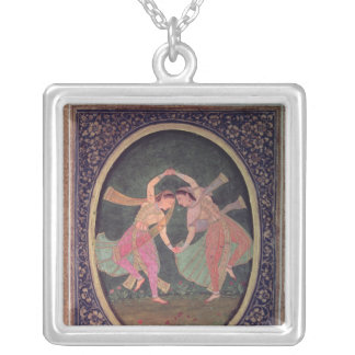 Pair of dancing girls performing a Kathak Silver Plated Necklace
