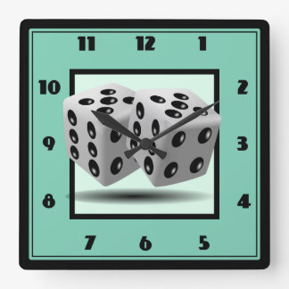 Pair of Dice Square Wall Clock