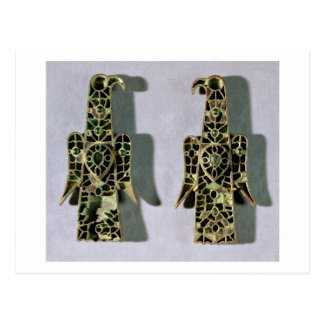 Pair of Eagle-Shaped Brooches (metal and enamel) Postcard