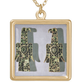 Pair of Eagle-Shaped Brooches (metal and enamel) Square Pendant Necklace