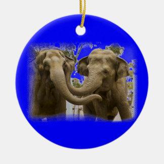 Pair of Elephants Blue Ceramic Ornament