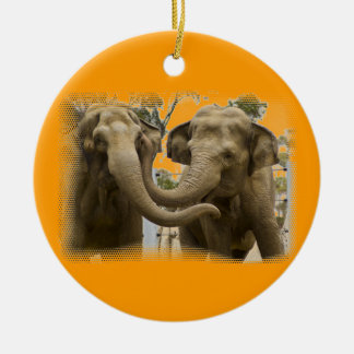 Pair of Elephants Orange Ceramic Ornament