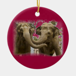 Pair of Elephants Red Ceramic Ornament