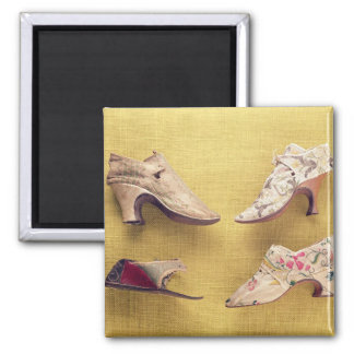 Pair of embroidered shoes, c.1714 2 inch square magnet
