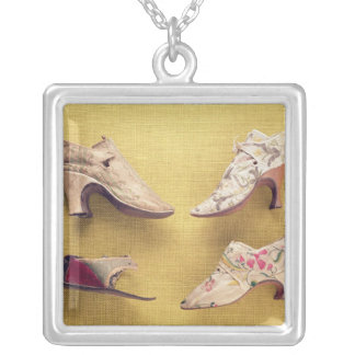 Pair of embroidered shoes, c.1714 silver plated necklace