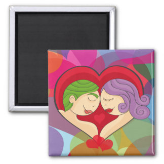 Pair of enamored 2 inch square magnet