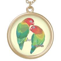 "pair of fischer""s lovebirds gold finish necklace"
