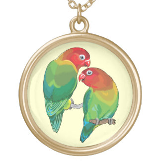 """pair of fischer""""s lovebirds gold plated necklace"""