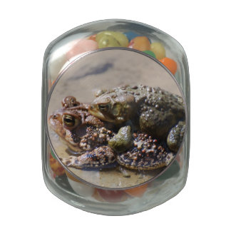 Pair of Frogs Glass Candy Jar