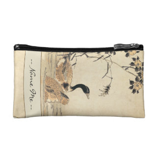 Pair of Geese with Camellias vintage japanese art Makeup Bags