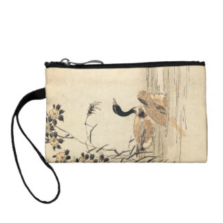 Pair of Geese with Camellias vintage japanese art Coin Wallets