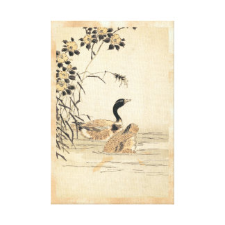 Pair of Geese with Camellias vintage japanese art Canvas Print
