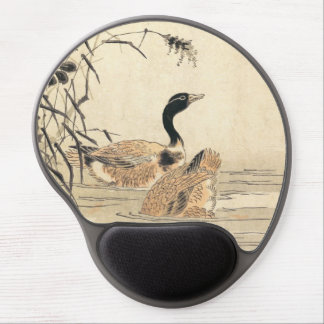 Pair of Geese with Camellias vintage japanese art Gel Mouse Pad