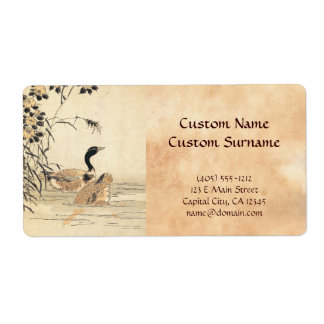 Pair of Geese with Camellias vintage japanese art Label