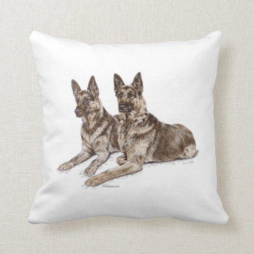 Pair of German Shepherd Dogs Throw Pillow