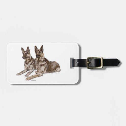 Pair of German Shepherd Dogs Travel Bag Tags